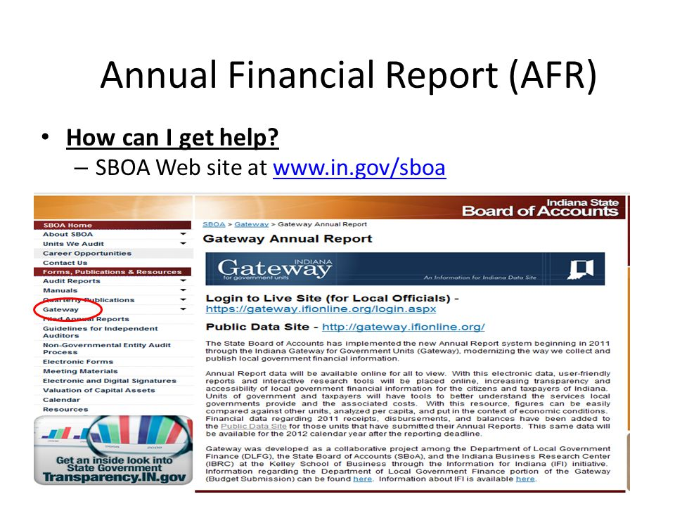 How can I get help – SBOA Web site at www.in.gov/sboawww.in.gov/sboa Annual Financial Report (AFR)