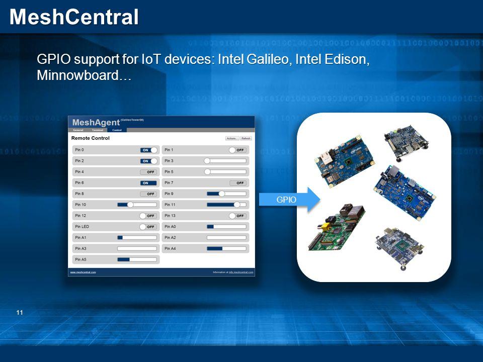 MeshCentral 11 GPIO support for IoT devices: Intel Galileo, Intel Edison, Minnowboard… GPIO