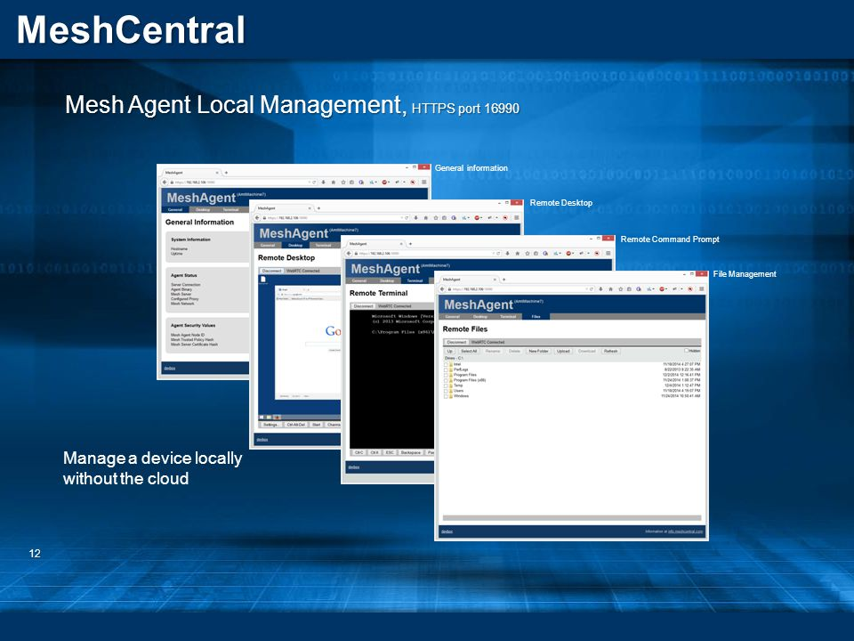 MeshCentral 12 Mesh Agent Local Management, HTTPS port 16990 General information Remote Desktop Remote Command Prompt File Management Manage a device locally without the cloud