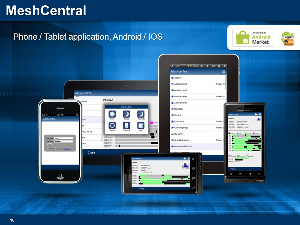MeshCentral Phone / Tablet application, Android / IOS 16