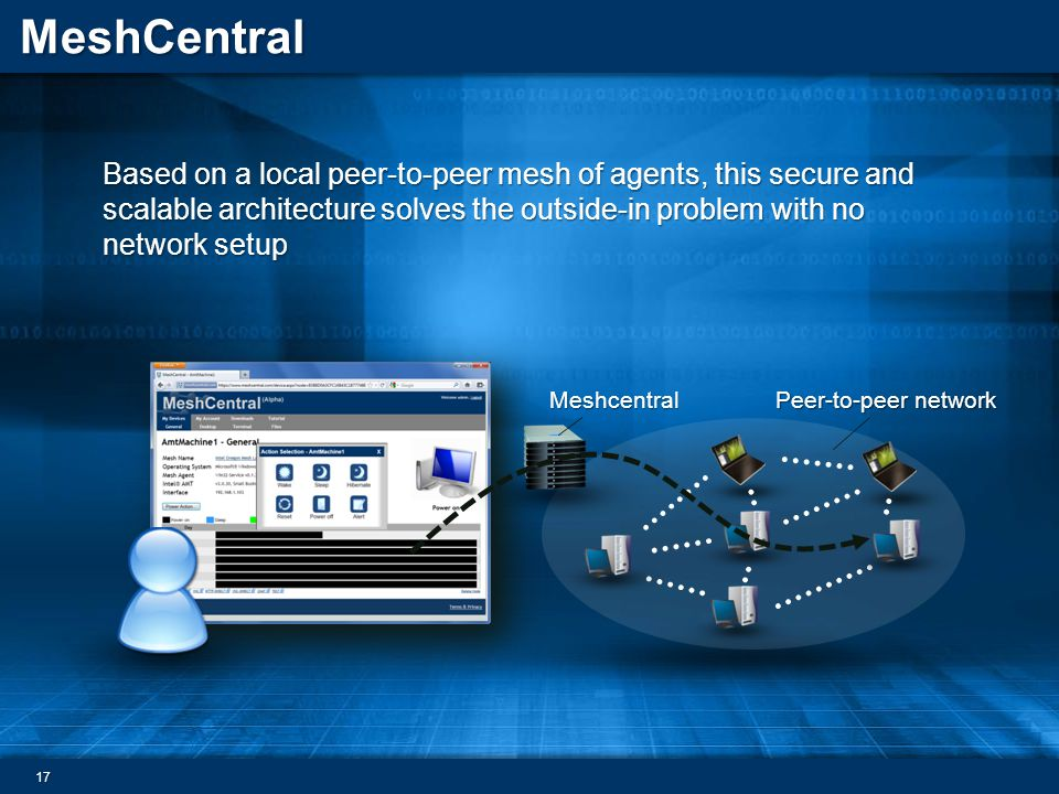 MeshCentral Based on a local peer-to-peer mesh of agents, this secure and scalable architecture solves the outside-in problem with no network setup Me