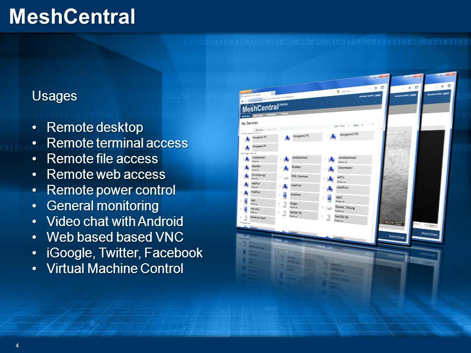MeshCentral Usages Remote desktopRemote desktop Remote terminal accessRemote terminal access Remote file accessRemote file access Remote web accessRem