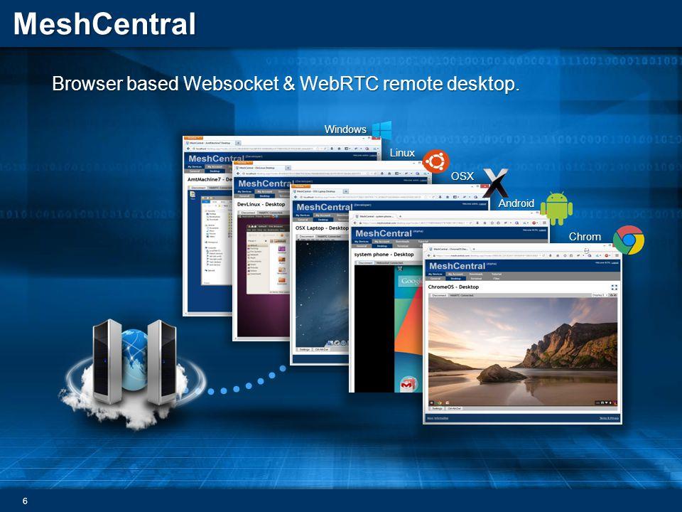 MeshCentral Browser based Websocket & WebRTC remote desktop. 6 Windows Linux OSX Android Chrom e