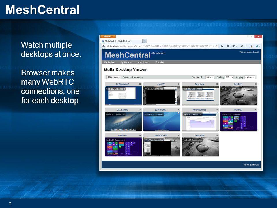 MeshCentral Watch multiple desktops at once.