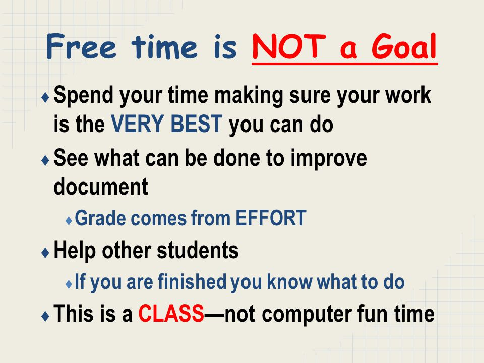 Free time is NOT a Goal ♦ Spend your time making sure your work is the VERY BEST you can do ♦ See what can be done to improve document ♦ Grade comes from EFFORT ♦ Help other students ♦ If you are finished you know what to do ♦ This is a CLASS—not computer fun time