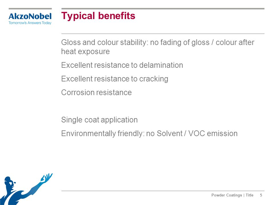 Typical benefits Gloss and colour stability: no fading of gloss / colour after heat exposure Excellent resistance to delamination Excellent resistance