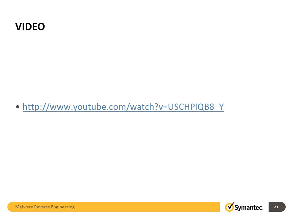VIDEO http://www.youtube.com/watch v=USCHPIQB8_Y Malware Reverse Engineering 31