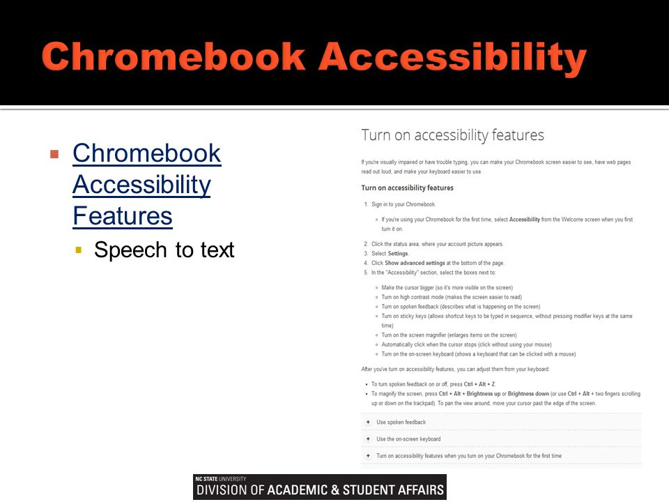  Chromebook Accessibility Features Chromebook Accessibility Features  Speech to text