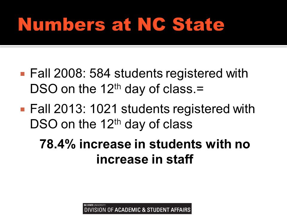  Fall 2008: 584 students registered with DSO on the 12 th day of class.=  Fall 2013: 1021 students registered with DSO on the 12 th day of class 78.4% increase in students with no increase in staff
