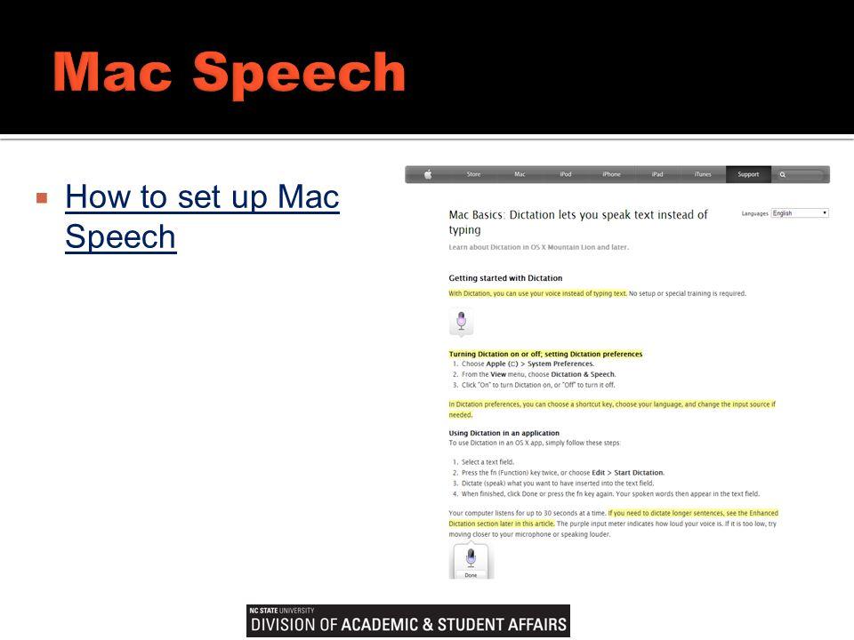  How to set up Mac Speech How to set up Mac Speech