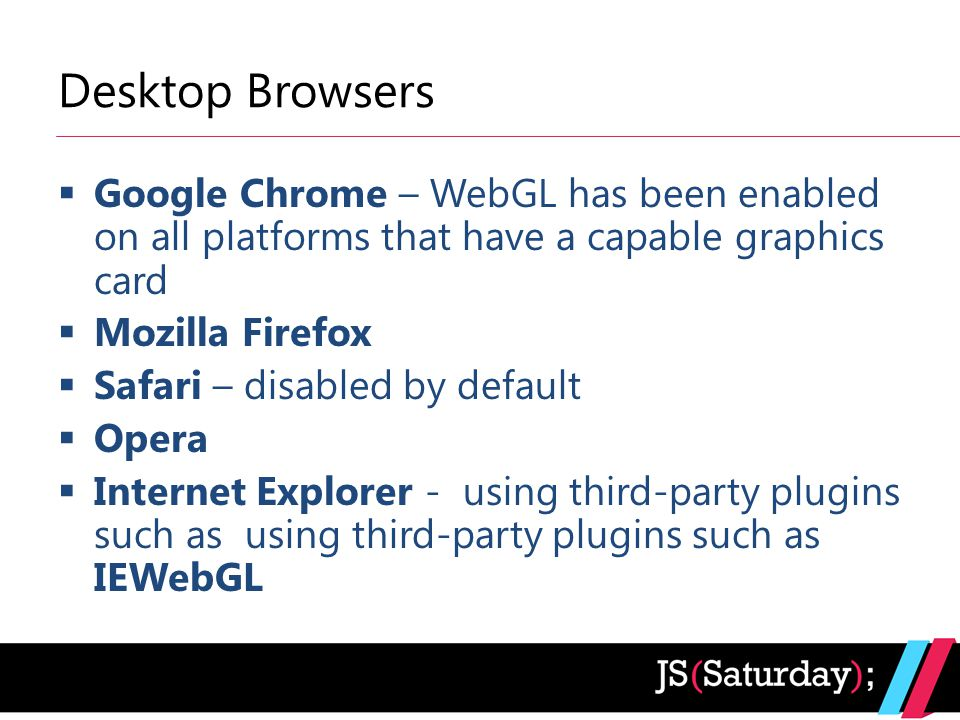 Desktop Browsers  Google Chrome – WebGL has been enabled on all platforms that have a capable graphics card  Mozilla Firefox  Safari – disabled by default  Opera  Internet Explorer - using third-party plugins such as using third-party plugins such as IEWebGL