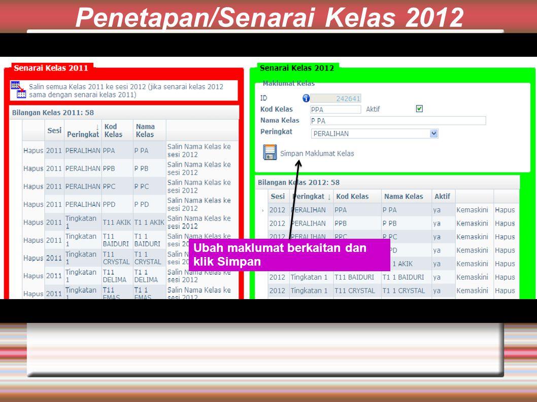 Penetapan/Senarai Kelas 2012 Ubah maklumat berkaitan dan klik Simpan