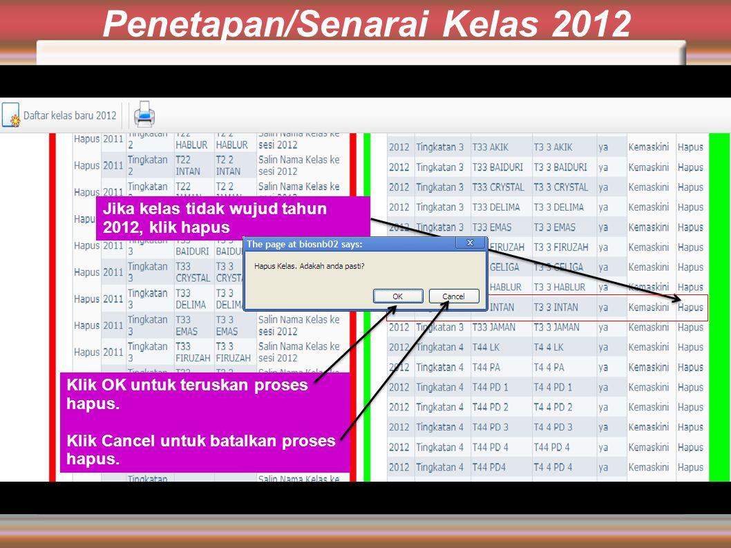 Penetapan/Senarai Kelas 2012 Jika kelas tidak wujud tahun 2012, klik hapus Klik OK untuk teruskan proses hapus.