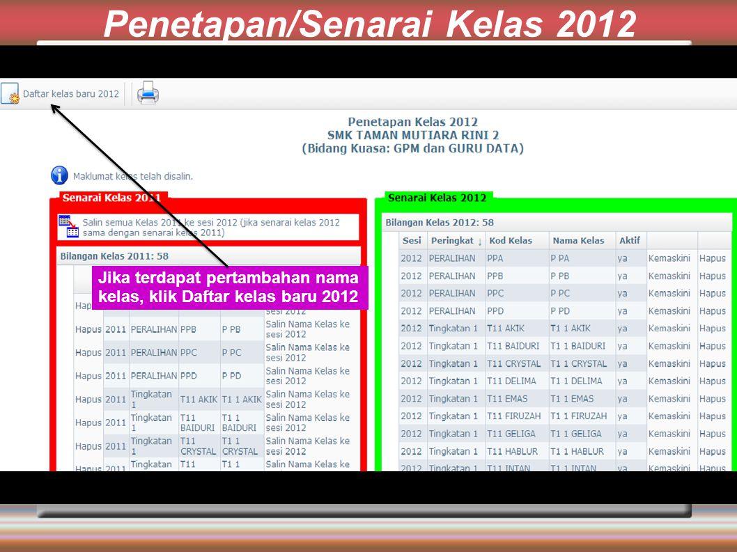 Penetapan/Senarai Kelas 2012 Jika terdapat pertambahan nama kelas, klik Daftar kelas baru 2012