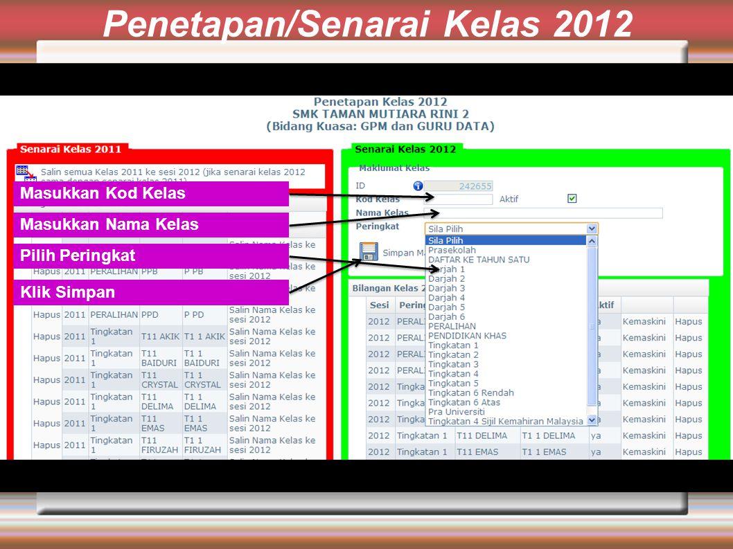 Penetapan/Senarai Kelas 2012 Masukkan Kod Kelas Masukkan Nama Kelas Pilih Peringkat Klik Simpan