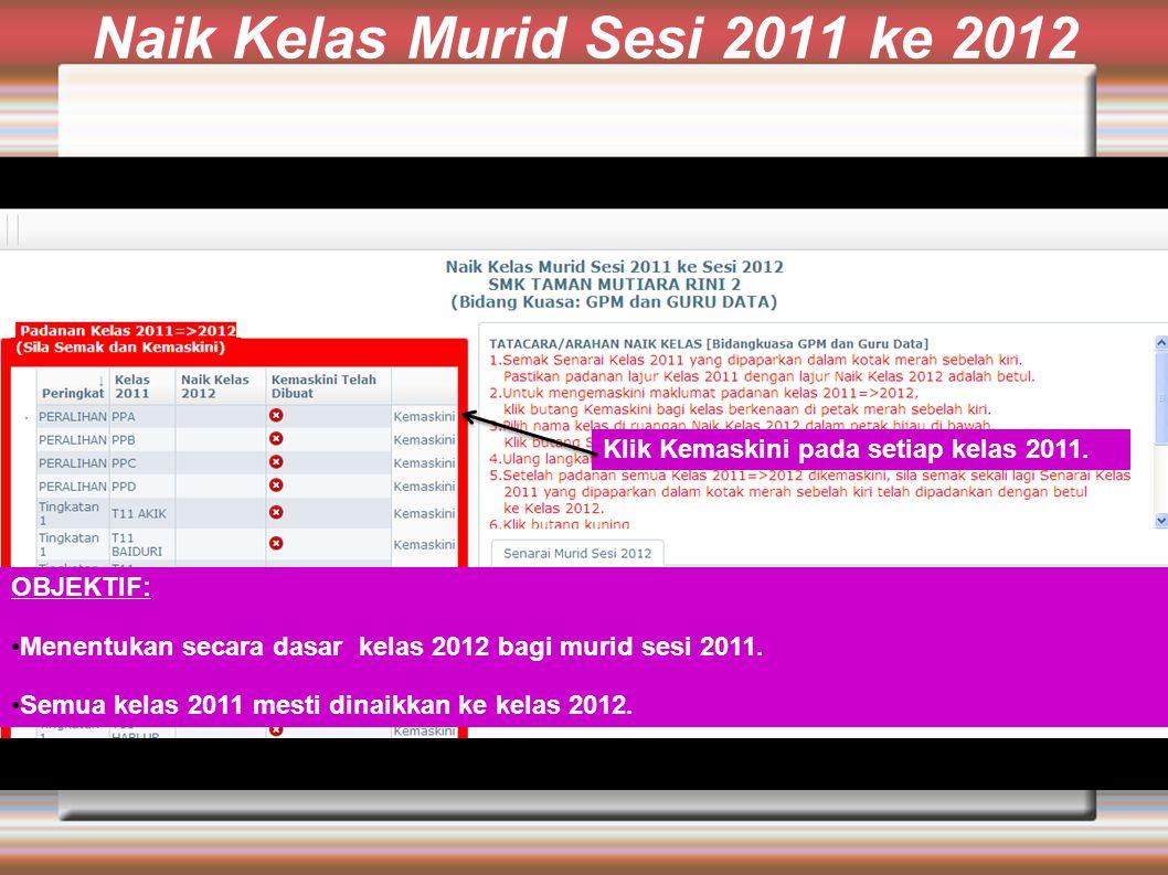Naik Kelas Murid Sesi 2011 ke 2012 OBJEKTIF: Menentukan secara dasar kelas 2012 bagi murid sesi 2011.