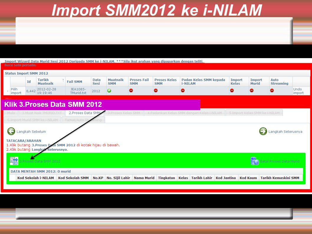 Import SMM2012 ke i-NILAM Klik 3.Proses Data SMM 2012