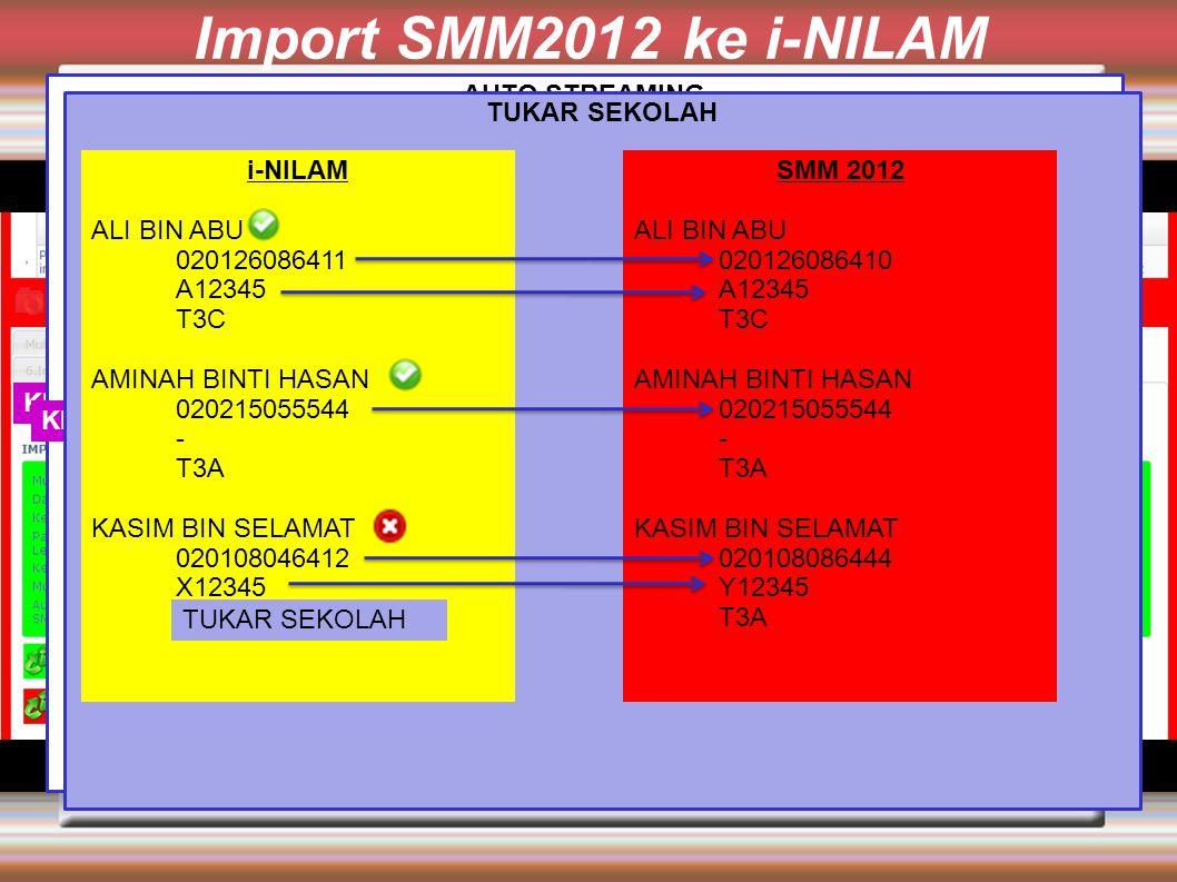 Import SMM2012 ke i-NILAM Klik Streaming Murid i-NILAM 2012 berdasarkan SMM 2012 AUTO STREAMING i-NILAM ALI BIN ABU 020126086411 A12345 T3A AMINAH BINTI HASAN 020215055544 - T3C KASIM BIN SELAMAT 020108046412 X12345 T3B SMM 2012 ALI BIN ABU 020126086410 A12345 T3C AMINAH BINTI HASAN 020215055544 - T3A KASIM BIN SELAMAT 020108086444 Y12345 T3A Klik Proses Tukar Sekolah TUKAR SEKOLAH i-NILAM ALI BIN ABU 020126086411 A12345 T3C AMINAH BINTI HASAN 020215055544 - T3A KASIM BIN SELAMAT 020108046412 X12345 T3B SMM 2012 ALI BIN ABU 020126086410 A12345 T3C AMINAH BINTI HASAN 020215055544 - T3A KASIM BIN SELAMAT 020108086444 Y12345 T3A TUKAR SEKOLAH