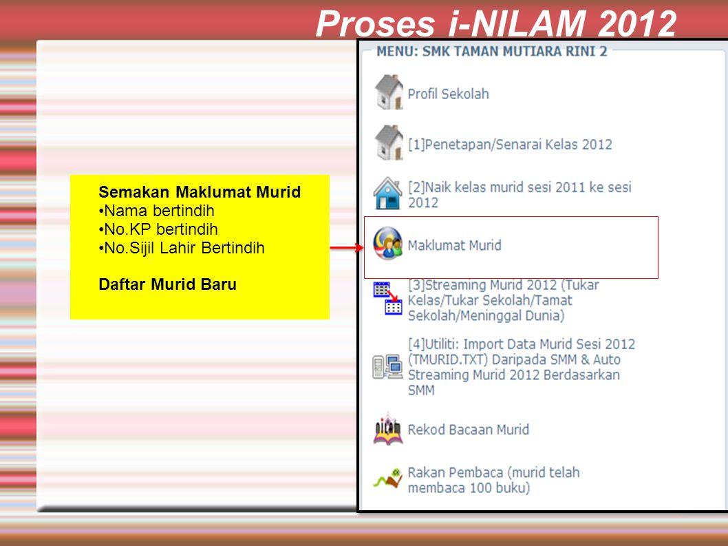 Proses i-NILAM 2012 Semakan Maklumat Murid Nama bertindih No.KP bertindih No.Sijil Lahir Bertindih Daftar Murid Baru