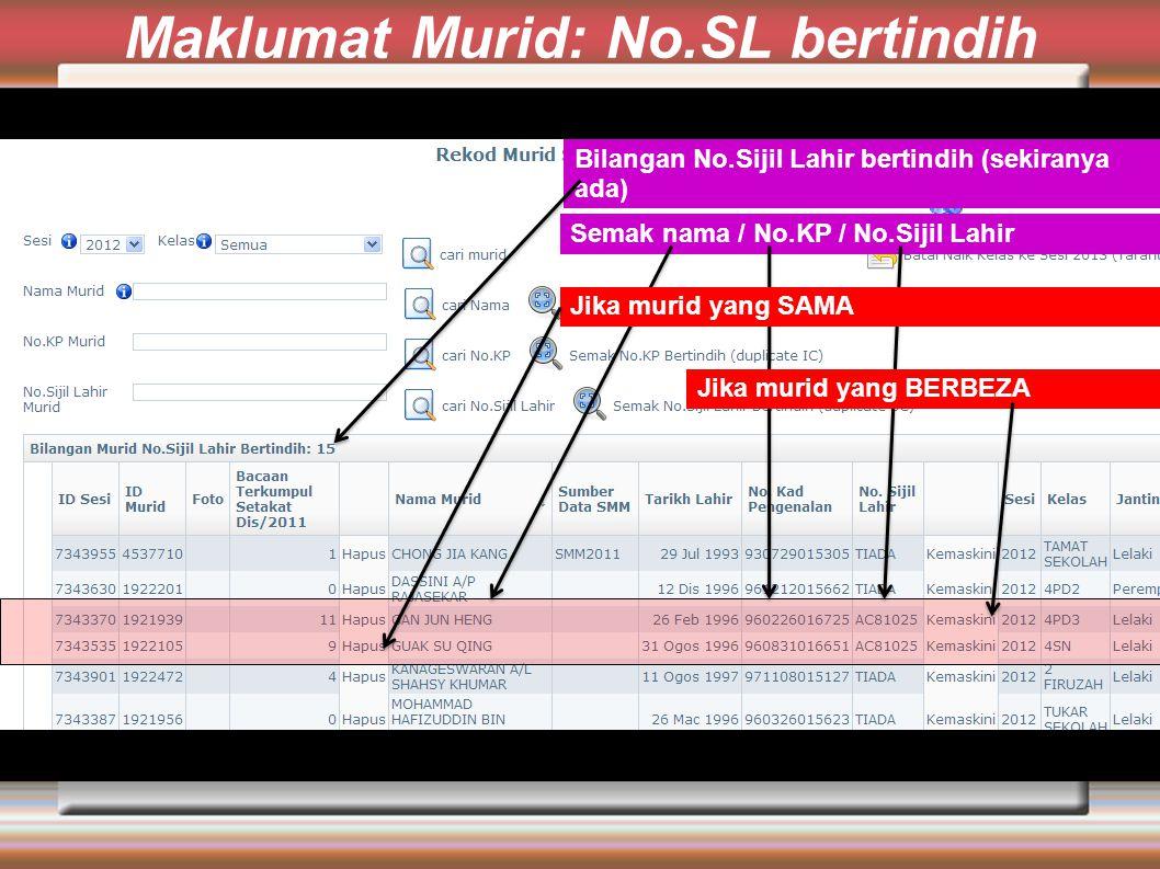 Maklumat Murid: No.SL bertindih Bilangan No.Sijil Lahir bertindih (sekiranya ada) Semak nama / No.KP / No.Sijil Lahir Jika murid yang SAMA Jika murid yang BERBEZA