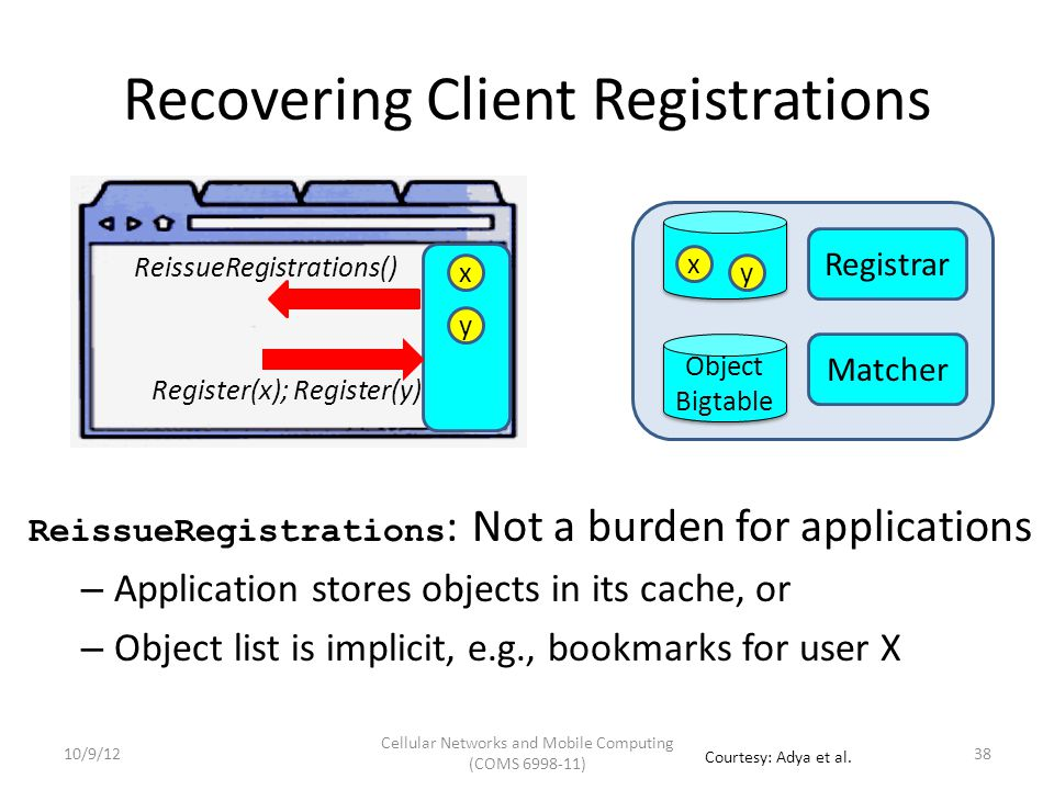 Registrar Matcher Object Bigtable Object Bigtable Register: x, y Syncing Client Registrations x y Hash(x, y) x y Goal: Keep client-registrar registration state in sync Every message contains hash of registered objects Registrar initiates protocol when detects out-of-sync Allows simpler reasoning of registration state Reg sync 39 Hash(x, y) 10/9/12 Cellular Networks and Mobile Computing (COMS 6998-11) Courtesy: Adya et al.