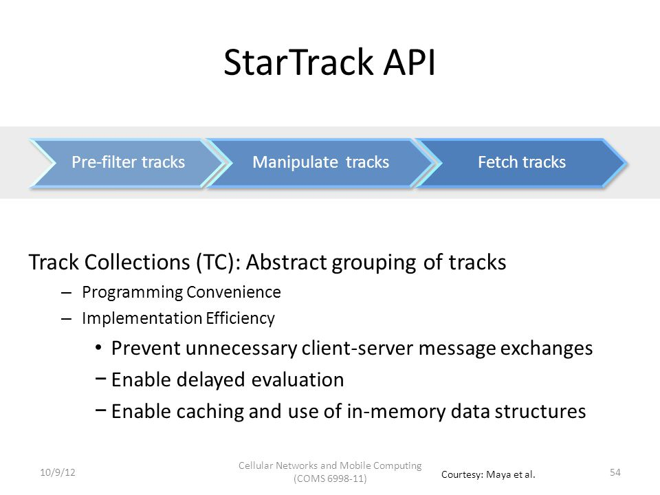 StarTrack API: Track Collections  TC JoinTrackCollections (TC tCs[], bool removeDuplicates)  TC SortTracks (TC tC, SortAttribute attr)  TC TakeTracks(TC tC, int count)  TC GetSimilarTracks (TC tC, Track refTrack, float simThreshold)  TC GetPassByTracks (TC tC, Area[] areas)  TC GetCommonSegments(TC tC, float freqThreshold)  Track[] GetTracks (TC tC, int start, int count) Manipulation Retrieval Creation  TC MakeCollection(GroupCriteria criteria, bool removeDuplicates) 5510/9/12 Cellular Networks and Mobile Computing (COMS 6998-11) Courtesy: Maya et al.
