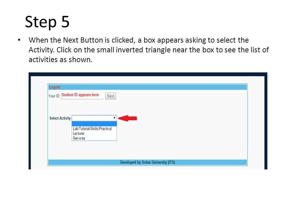 Step 5 When the Next Button is clicked, a box appears asking to select the Activity.