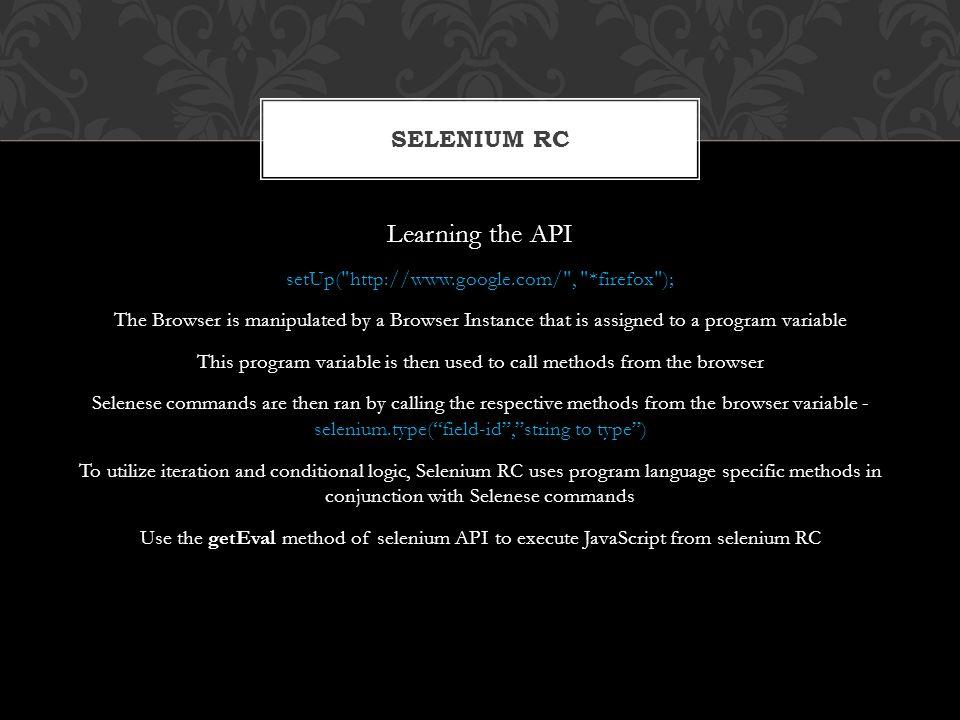 Learning the API setUp(