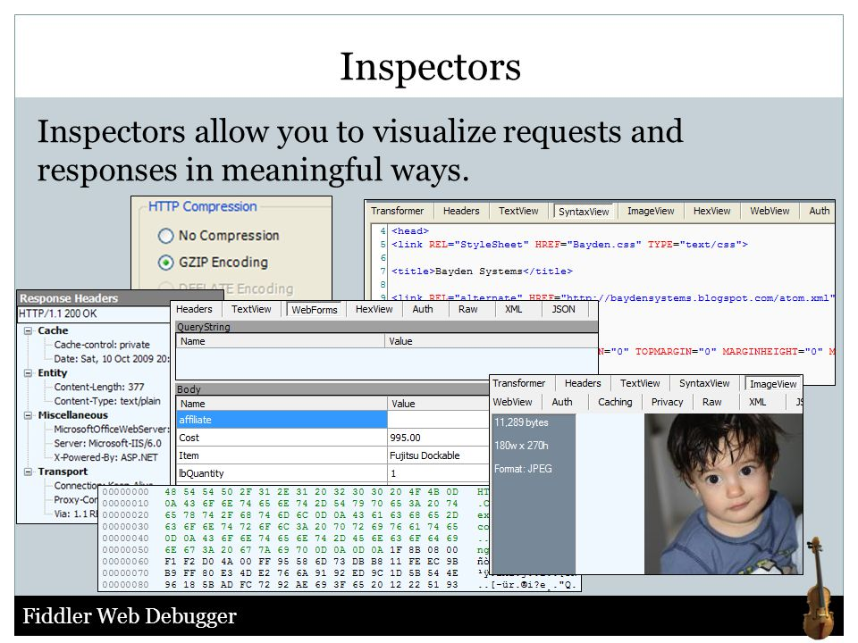Fiddler Web Debugger Inspectors Inspectors allow you to visualize requests and responses in meaningful ways.