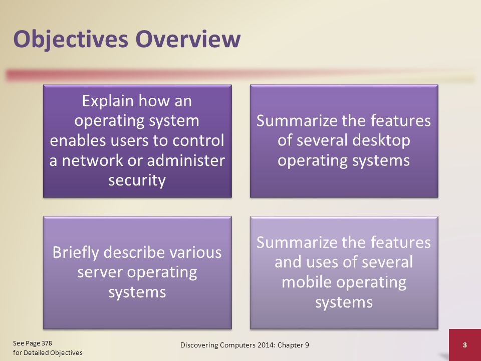 Objectives Overview Explain how an operating system enables users to control a network or administer security Summarize the features of several desktop operating systems Briefly describe various server operating systems Summarize the features and uses of several mobile operating systems Discovering Computers 2014: Chapter 9 3 See Page 378 for Detailed Objectives