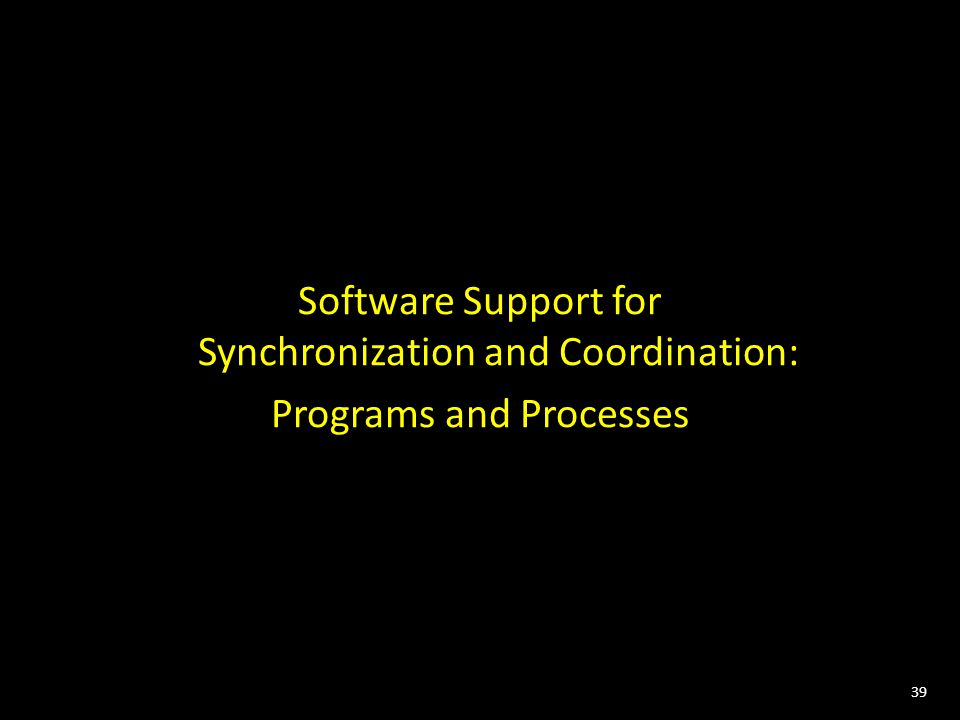 39 Software Support for Synchronization and Coordination: Programs and Processes