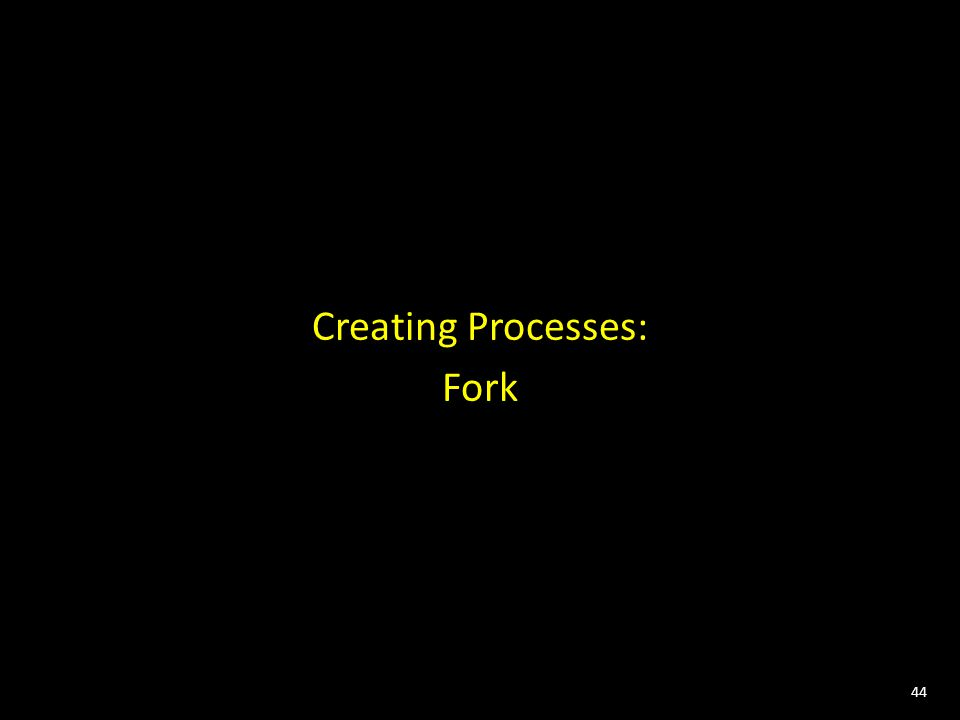 44 Creating Processes: Fork