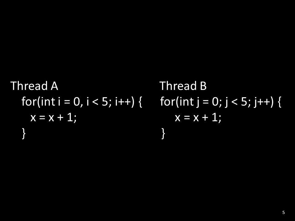5 Thread A Thread B for(int i = 0, i < 5; i++) { for(int j = 0; j < 5; j++) { x = x + 1; x = x + 1; } }