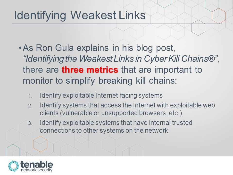 Identifying Weakest Links Tenable's SecurityCenter Research Team has created three new dashboards to assist organizations in monitoring these three metrics: 1.