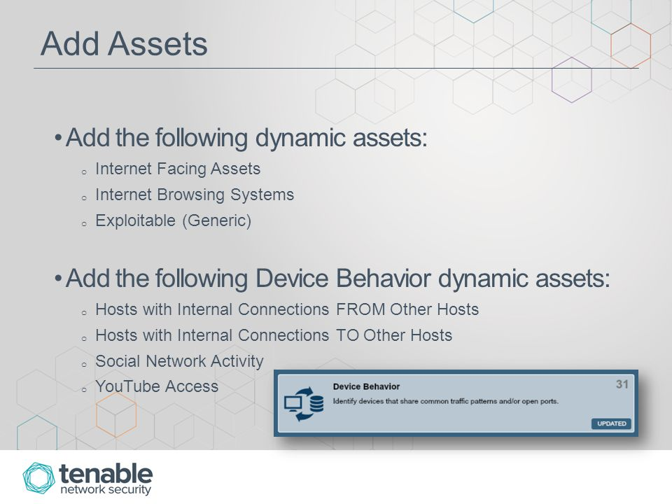 Internet Facing Exploits Dashboard Note that this dashboard uses a pre-defined dynamic asset, not a created combination asset Therefore, if using a static DMZ Systems asset as described earlier is desired, then a combination asset combining Internet Facing Systems and DMZ Systems asset(s) will need to be created and applied to this dashboard