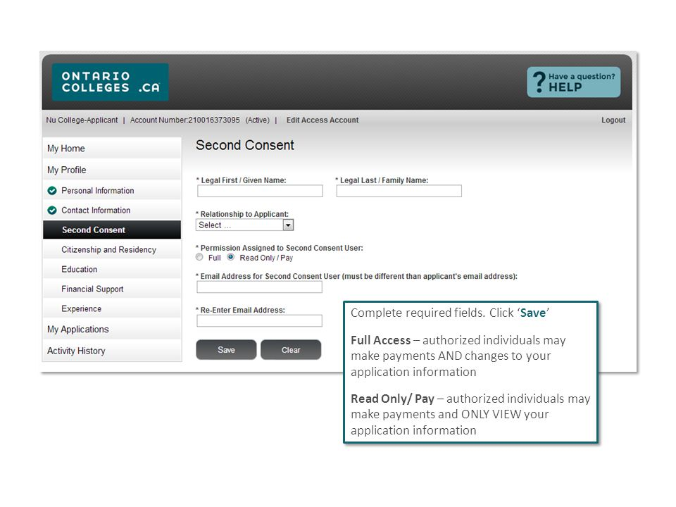 Complete required fields. Click 'Save' Full Access – authorized individuals may make payments AND changes to your application information Read Only/ P