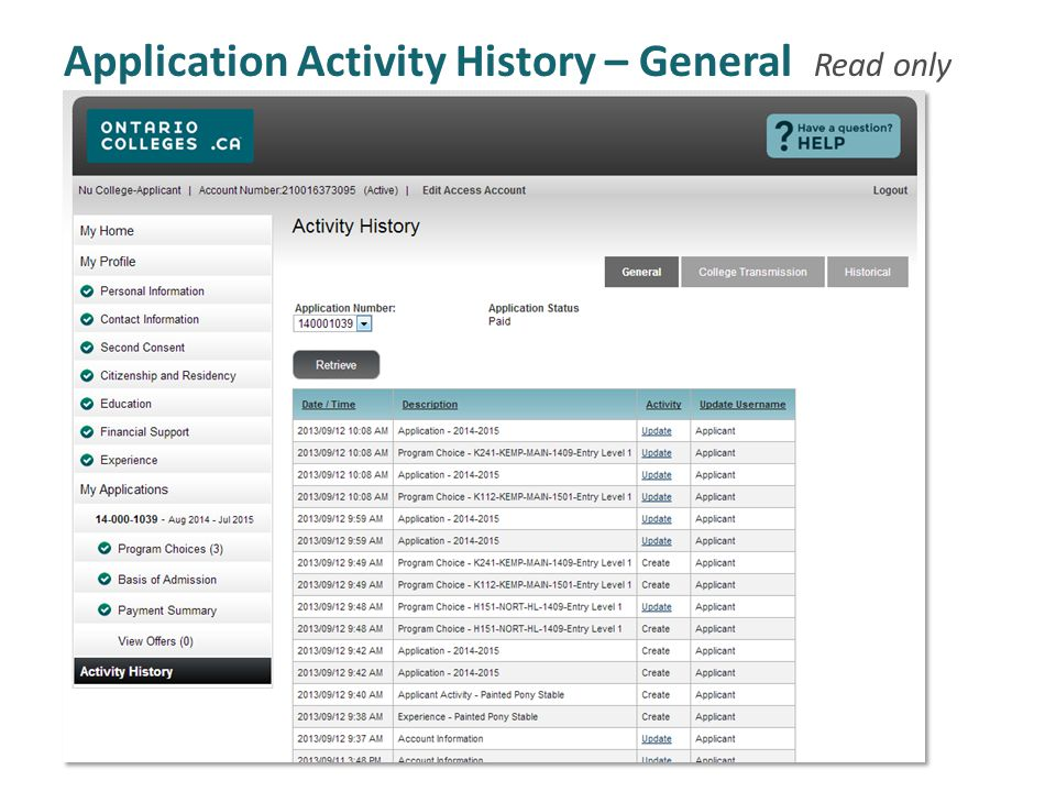 Application Activity History – General Read only