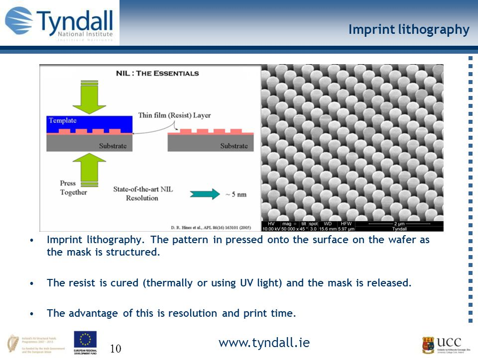 www.tyndall.ie 10 Imprint lithography Imprint lithography.