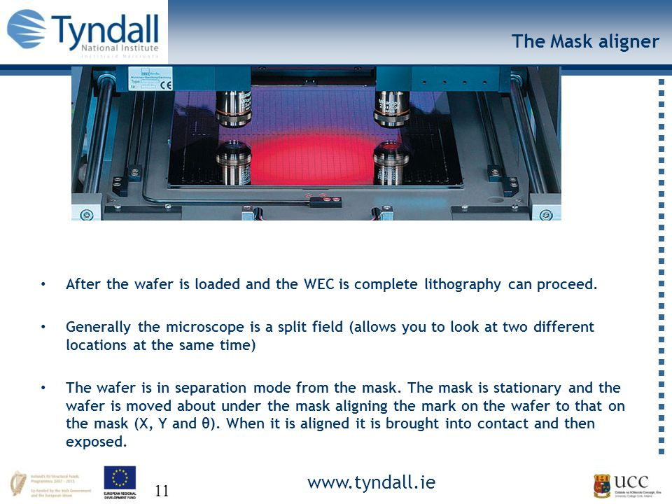 www.tyndall.ie 11 The Mask aligner After the wafer is loaded and the WEC is complete lithography can proceed.