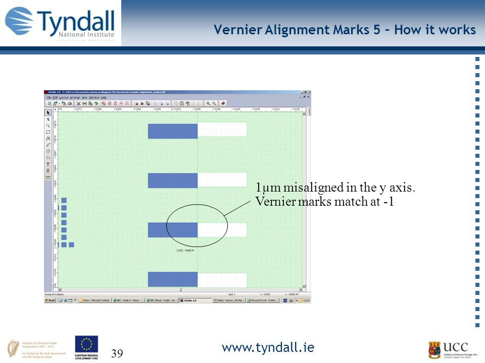 www.tyndall.ie 39 Vernier Alignment Marks 5 – How it works 1µm misaligned in the y axis.