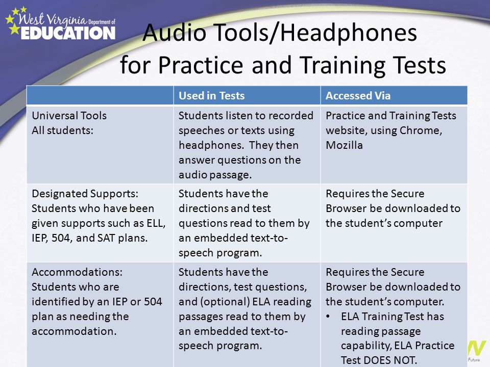 Audio Tools/Headphones for Practice and Training Tests Used in TestsAccessed Via Universal Tools All students: Students listen to recorded speeches or texts using headphones.
