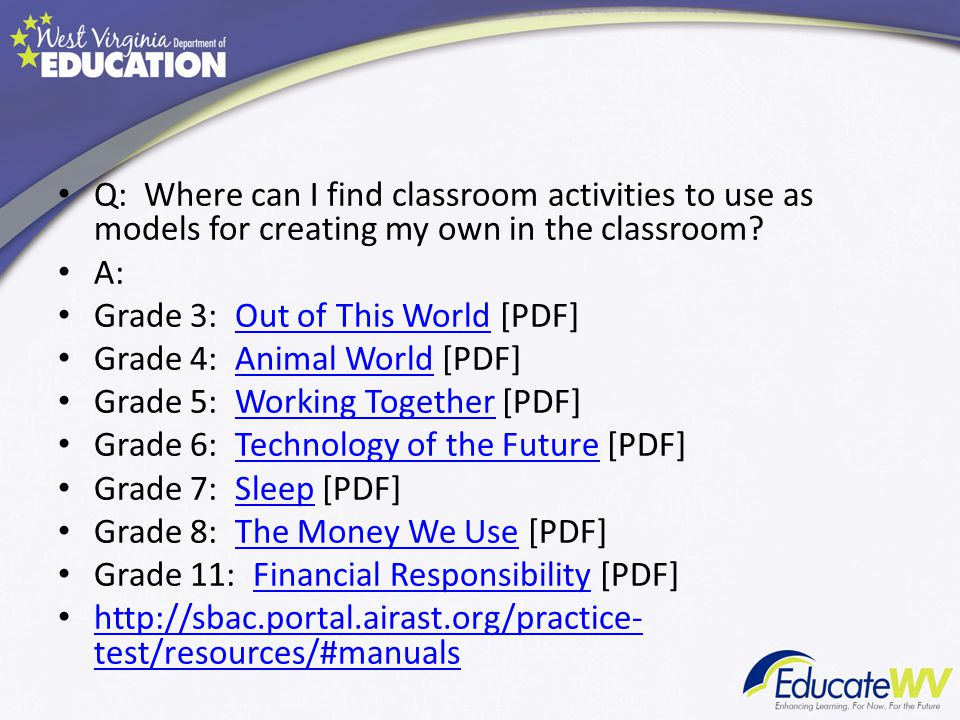 Q: Where can I find classroom activities to use as models for creating my own in the classroom.