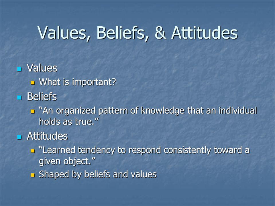 Values, Beliefs, & Attitudes Values Values What is important.