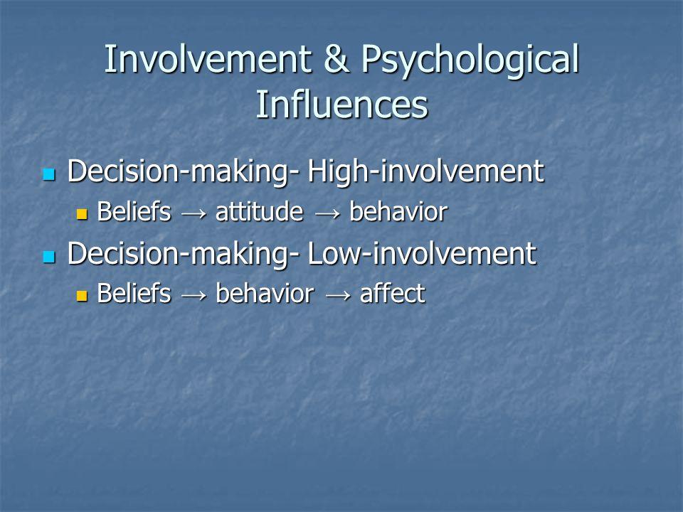 Involvement & Psychological Influences Decision-making- High-involvement Decision-making- High-involvement Beliefs → attitude → behavior Beliefs → attitude → behavior Decision-making- Low-involvement Decision-making- Low-involvement Beliefs → behavior → affect Beliefs → behavior → affect