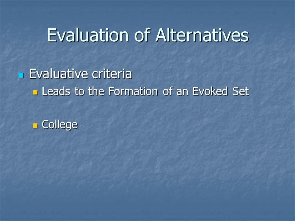 Evaluation of Alternatives Evaluative criteria Evaluative criteria Leads to the Formation of an Evoked Set Leads to the Formation of an Evoked Set College College