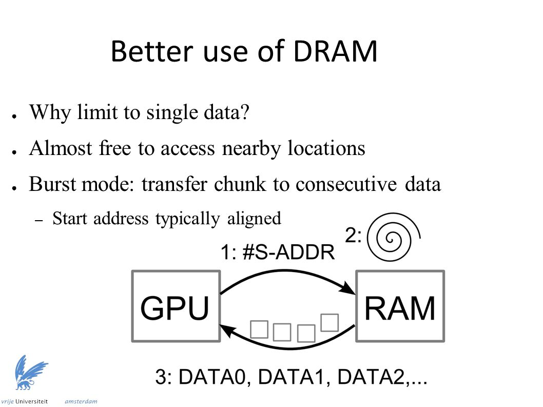 Better use of DRAM ● Why limit to single data? ● Almost free to access nearby locations ● Burst mode: transfer chunk to consecutive data – Start addre