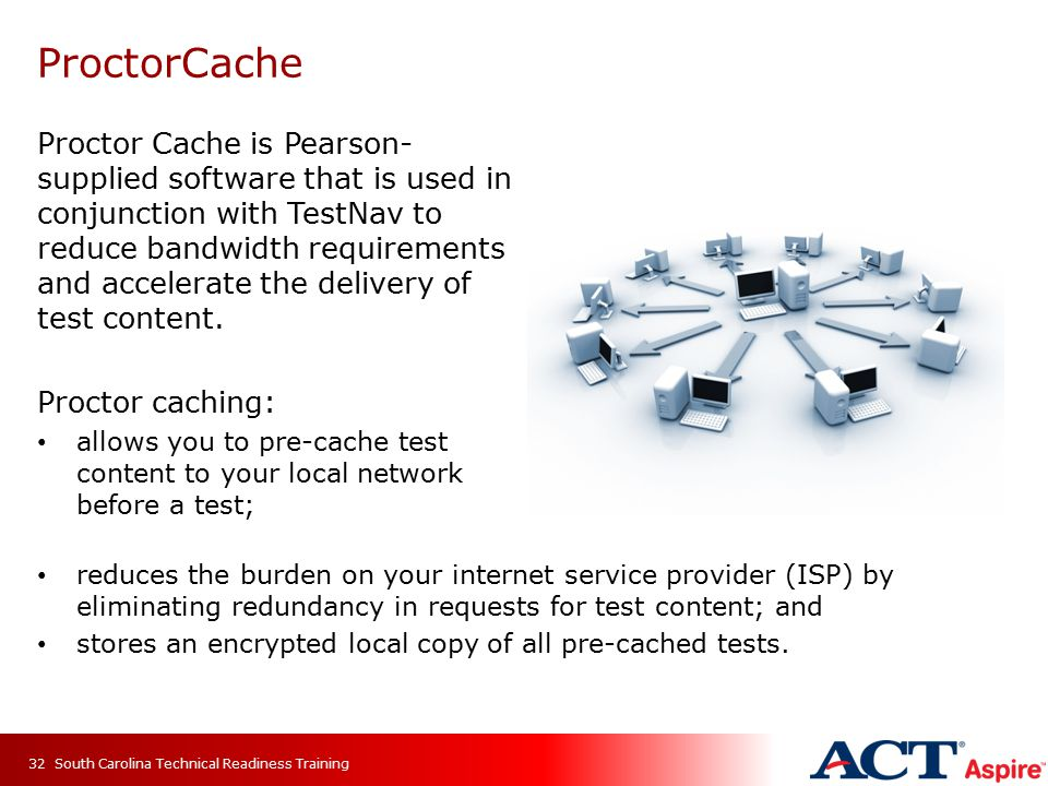 Proctor Cache is Pearson- supplied software that is used in conjunction with TestNav to reduce bandwidth requirements and accelerate the delivery of test content.