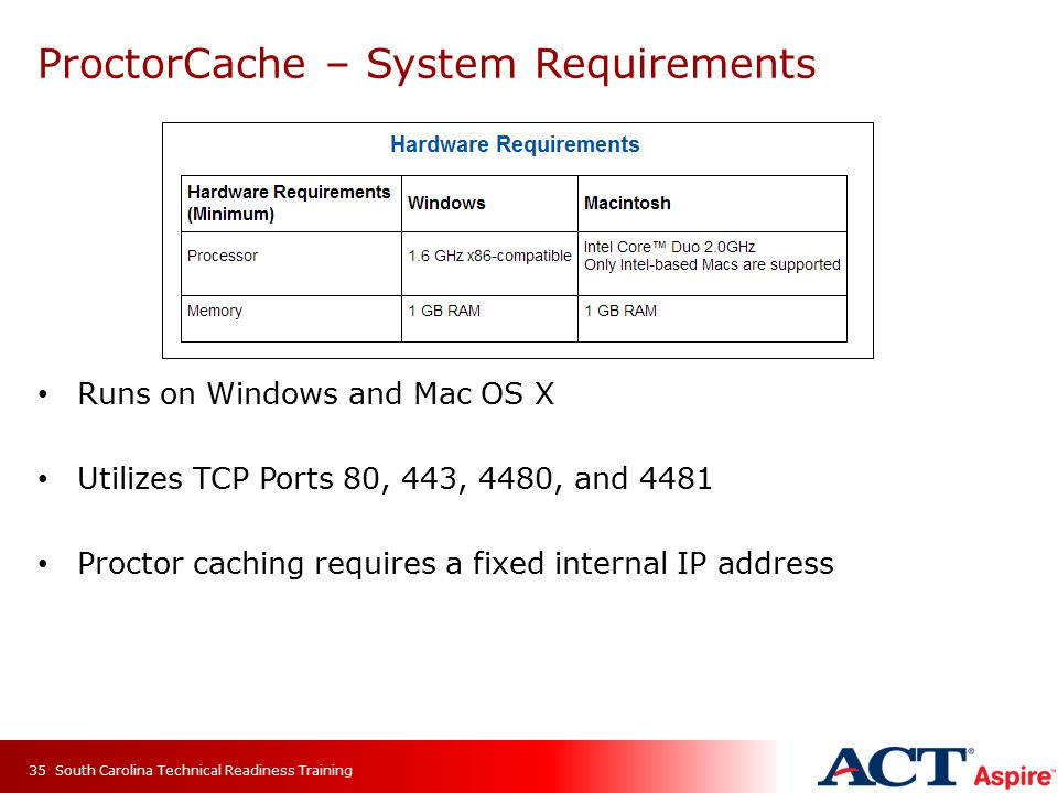 ProctorCache – System Requirements Runs on Windows and Mac OS X Utilizes TCP Ports 80, 443, 4480, and 4481 Proctor caching requires a fixed internal IP address South Carolina Technical Readiness Training35