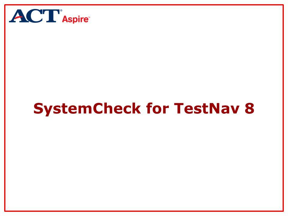 SystemCheck for TestNav 8