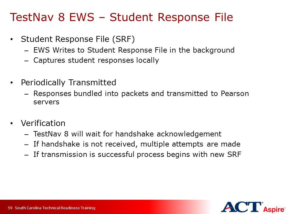 TestNav 8 EWS – Student Response File Student Response File (SRF) – EWS Writes to Student Response File in the background – Captures student responses
